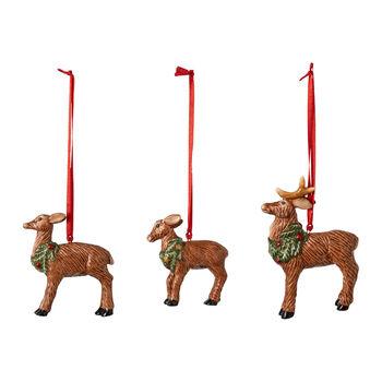 Nostalgic Ornaments set di addobbi famiglia di cervi, 7 x 6 cm, 3 pezzi
