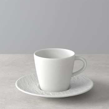 Manufacture Rock Blanc tazza da caffè con piattino, bianco, 2 pezzi