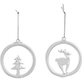 Christmas Decoration suspension en verre, renne et sapin, 8,5cm