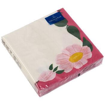 Papier Servietten Rose Sauvage Framboise, 33 x 33 cm, 20 Stück