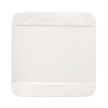Manufacture Rock Blanc assiette plate carrée, blanche, 28x28x2cm