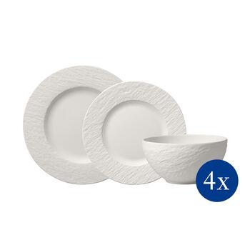 Manufacture Rock blanc Ensemble d'assiettes, 12p., 4personnes
