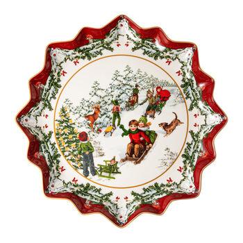 Toy's Fantasy piatto da pasticcini fondo giro in slitta, multicolore/rosso/bianco, 39 x 39 x 3,5 cm