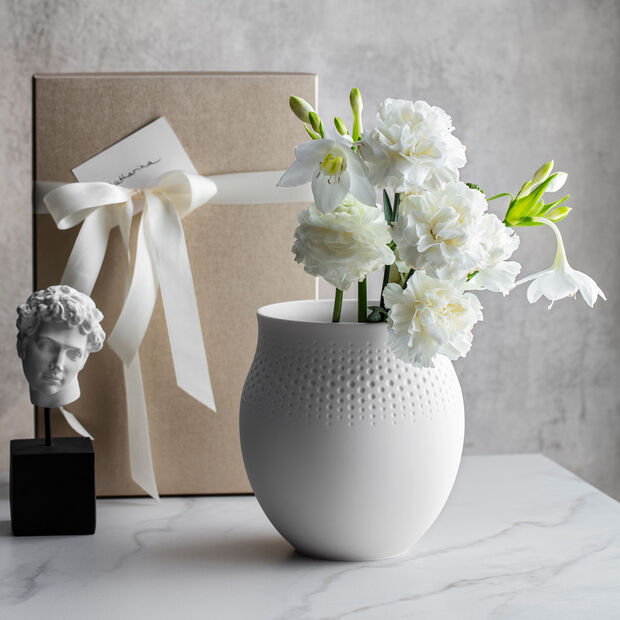Manufacture Collier blanc Vase Perle groß 16,5x16,5x17,5cm, , large