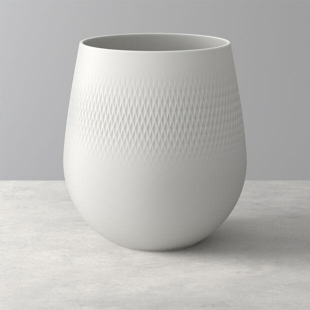 Manufacture Collier blanc Vase Carré grand 20,5x20,5x22,5cm, , large
