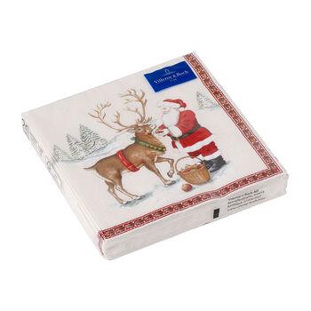 Winter Specials serviette de table renne, marron/multicolore, 20pièces, 33x33cm