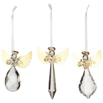 Winter Collage Accessoires Glashänger-Engel-Set, gold, 21 x 11,5 x 3 cm, 3-teilig