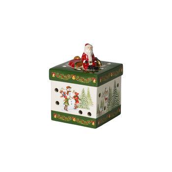 Christmas Toy's kleines eckiges Geschenkpaket, grün/bunt, 9 x 9 x 13 cm