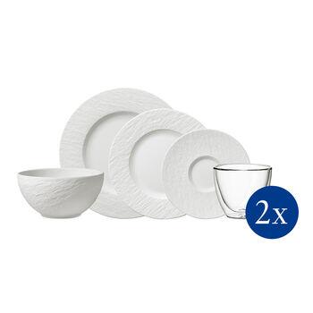 Manufacture Rock ensemble de vaisselle, 10pièces, pour 2personnes, blanc